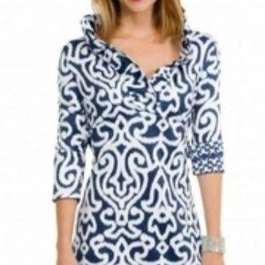 Gretchen Scott Arabesque Ruffle Neck Dress